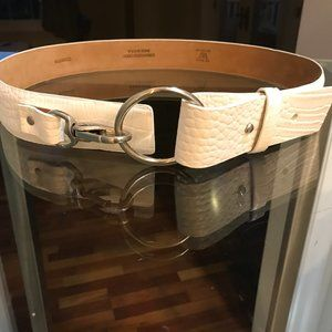 Worth Embossed Croc White Belt.  Size Large